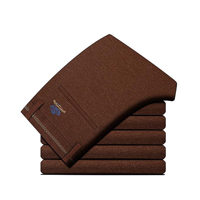 37c20b4a86f Autumn Winter Men s Casual Sanding Stretch Straight Slim Pants Business  Casual Dress Suit Pants