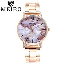 MEIBO Women's Casual Quartz Stainless Steel Marble Watch Analog Wrist Watch