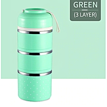 Colorful Thermal Lunch Box Stainless Steel Food Storage Container Cute Mini Japanese Bento Box Leak-Proof Food Case Picnic Box-Green