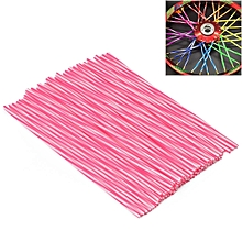 72 PCS Plastic Wheel Modified Spoke Wraps Skins Coat Trim Cover For Pipe Motorcycle Motocross Bike (Pink+White)