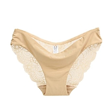 singedanWomen lace Panties Seamless Cotton Panty Hollow briefs Underwear Beige/S -Beige