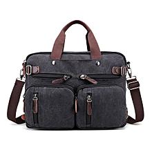 Canvas Convertible Backpack Briefcase Multi-Pocket Laptop Messenger Shoulder Bag Black