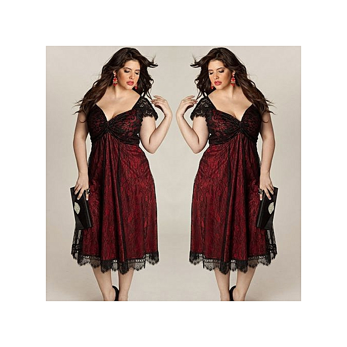 b90c35cfa544 RanickenPlus Size Women Sleeveless Lace Long Evening Party Prom Gown Formal  Dress 4XL -Red