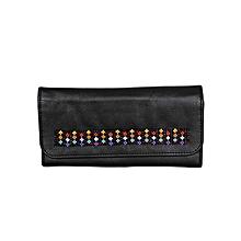 Black Pattern Martin's Purse With Beads (Stars)