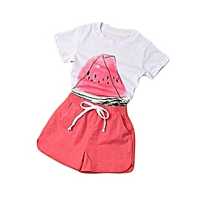 Toddler Kid Baby Girl Small Watermelon Shirt+Shorts Clothes Outfit 2PCS Set 90