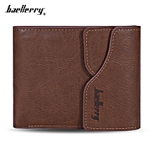 Men PU Leather Short Wallet Card Holder-LIGHT COFFEE