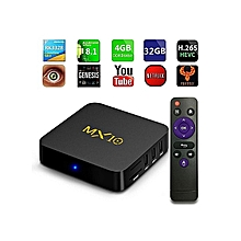 MX 10 TV Box Android 7.1.2 4GB DDR3 + 32GB EMMC 10 / 100M LAN VP9 HDMI USB 3.0 EU Plug - Black