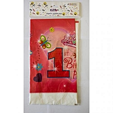1st birthday table cover-1 piece-Pink