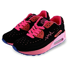 Ladies Color Block Sports Shoes - Black+Rose