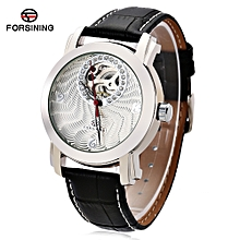Forsining F120514 Male Auto Mechanical Watch Hollow Pointer Rhinestone Sub-dial Wristwatch-WHITE