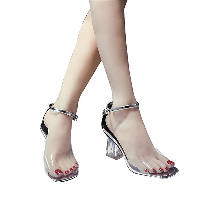 2c37166ffd2 Fashion Women Transparent Sandals Ankle High Heels Block Party Open Toe  Shoes