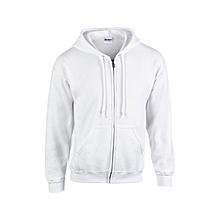 White plain zipped hoodie