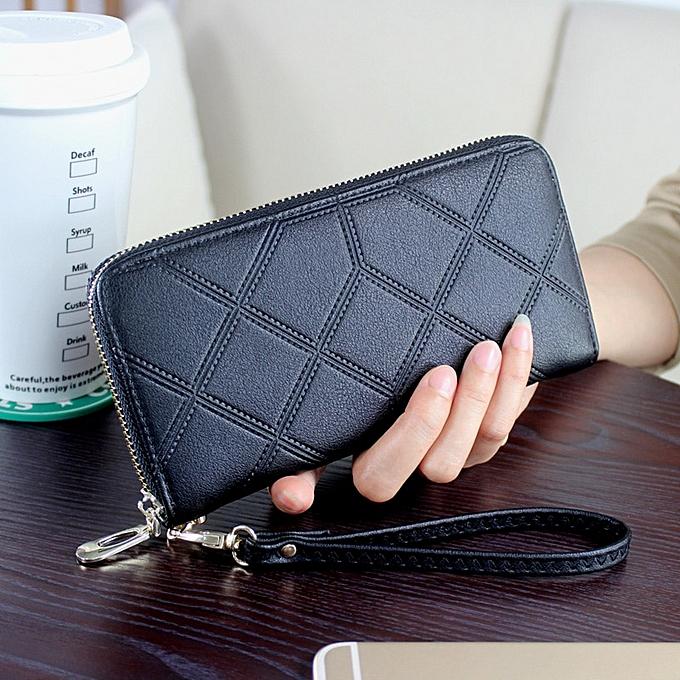 819d1038772c PU Leather Women Wallet Purse Solid Color Black Wallets For Female Clutch  Long Purses Bag NPJ002
