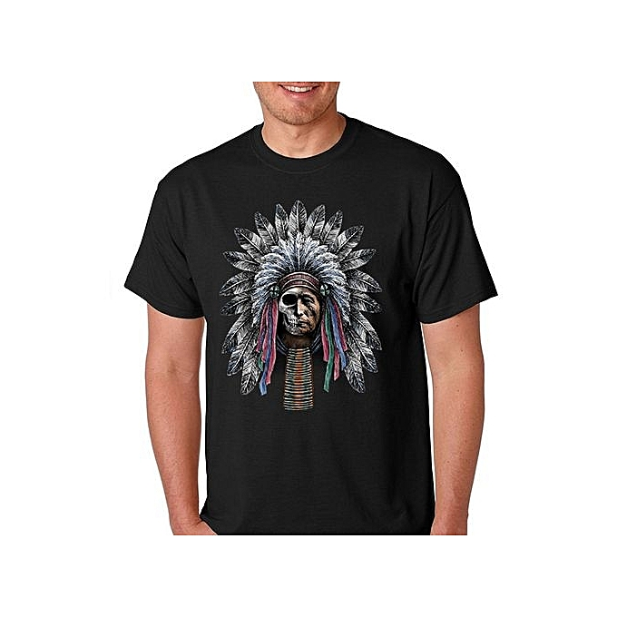 10f13f790e2a Men s Funny Cool Summer Tee Shirt Old Indian With Half Face Of Skull Premium  Softstyle Men s
