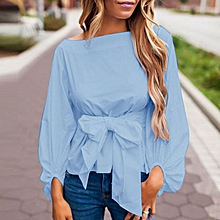 ZANZEA Solid Shirts Bowknot Crop Tops 3/4 Sleeve Lace-up Bow Casual Slim Blouses Blue