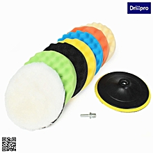 Drillpro 8x 7inch Sponge Polishing Waxing Buffing Pads Kit Compound Auto Car+Drill