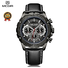 MEGIR Men Watch Top Luxury Brand Chronograph Date Mens Wrist Watches Military Army Sport Leather Band Quartz Male Clock Box 2070