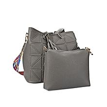 Geometric Stitching Bucket Handbag - Grey