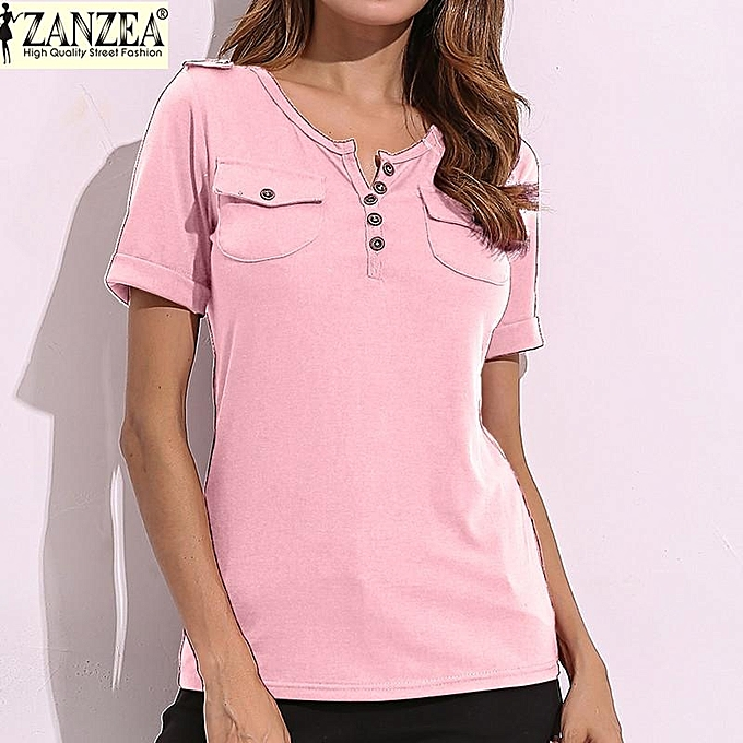 95ad11ec6b3c ZANZEA Women Summer Tee Tops Short Sleeve Casual Slim Fitted Ladies V Neck  Plunge T-