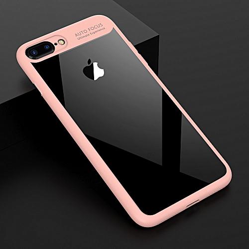 d76c78535 Auto Focus colorful TPU silicone + transparent PC iPhone 7Plus  8Plus Case  -Pink