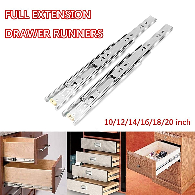 One Pair 14'' 45mm Full Extension Soft Close Ball Bearing Drawer Slides