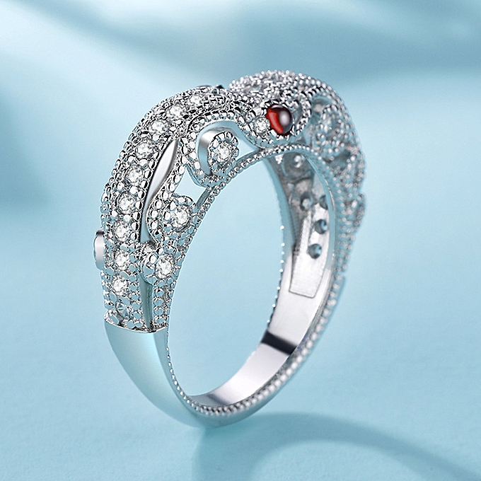 Baroque retro ball heart-shaped simulation Ruby ladies exaggerated model  queen noble ring