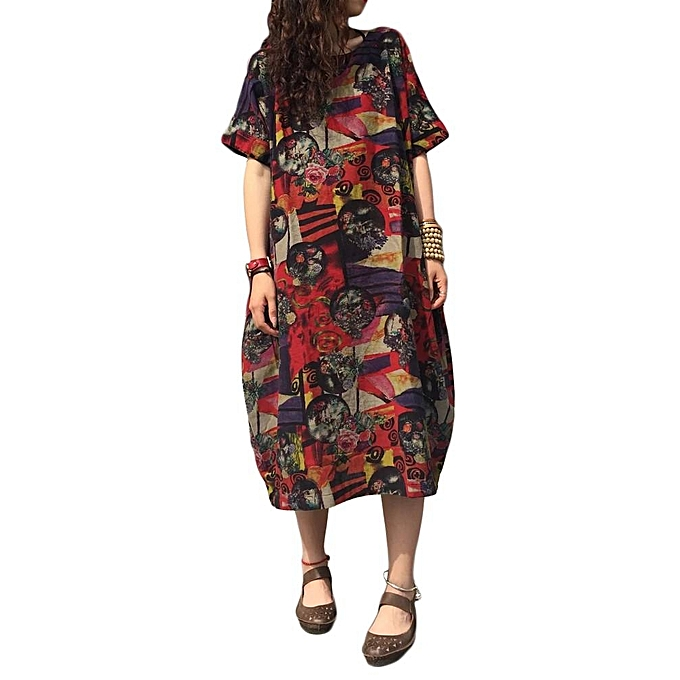 c88357e49f ZANZEA Summer Casual Loose Cotton Linen Oversize Floral Print Midi Dress  Women Vintage Short Sleeve Vestidos