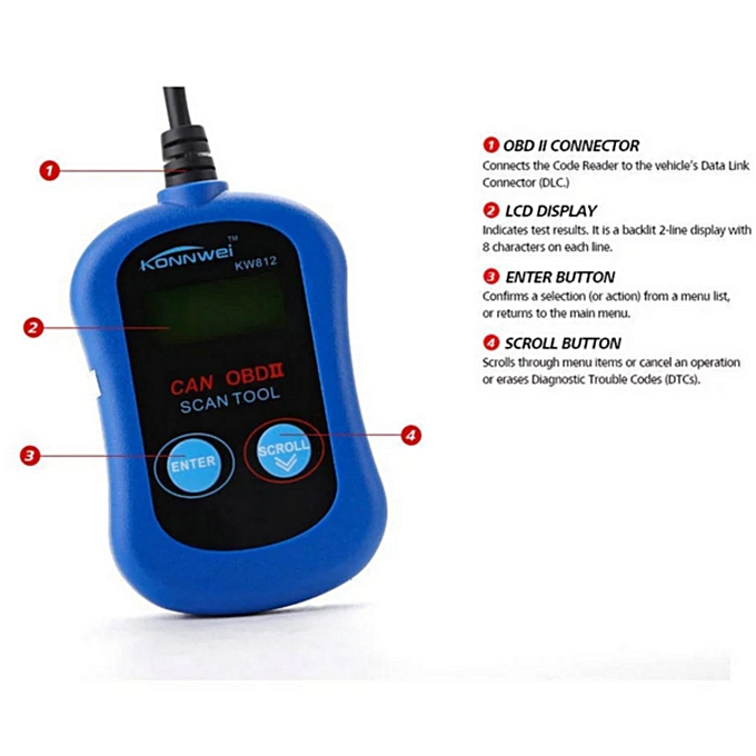 OBD2 OBDII LCD Automotive Diagnostic Scanner Tool Computer Vehicle Fault  Code Reader KW812/VAG305 LBQ