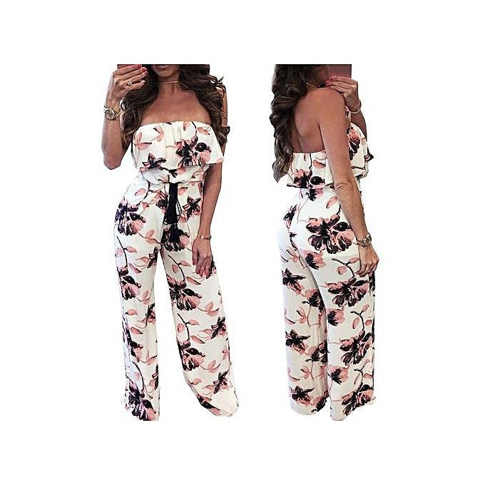 3a4b1c1935 bluerdream-Women Sleeveless Off One Shoulder Floral Print Playsuit Long Pants  Rompers MU L