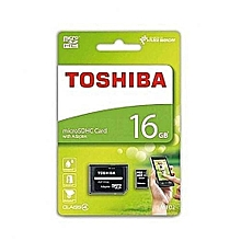 MicroSD HC Memory Card with SD Adapter - 16GB - Black