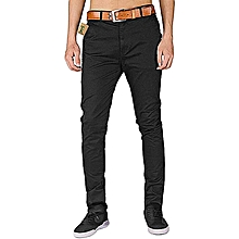 Soft Khaki Men's Trouser Stretch Slim Fit Casual- Black