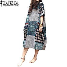 ZANZEA Summer Casual Loose Cotton Linen Oversize Floral Print Midi Dress Women Vintage Short Sleeve Vestidos Shift Dresses