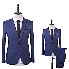 Men Business Leisure One Button Formal Two-Piece-Lake Blue