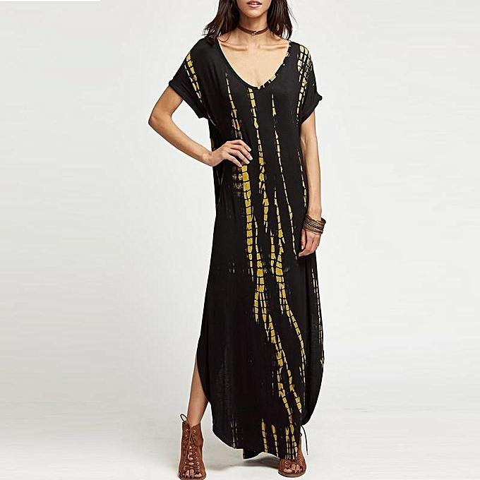 0297bebf68c Women Boho Long Maxi Dress Plus Size Sexy Deep V Neck Split Loose Curved  Hem Fashion