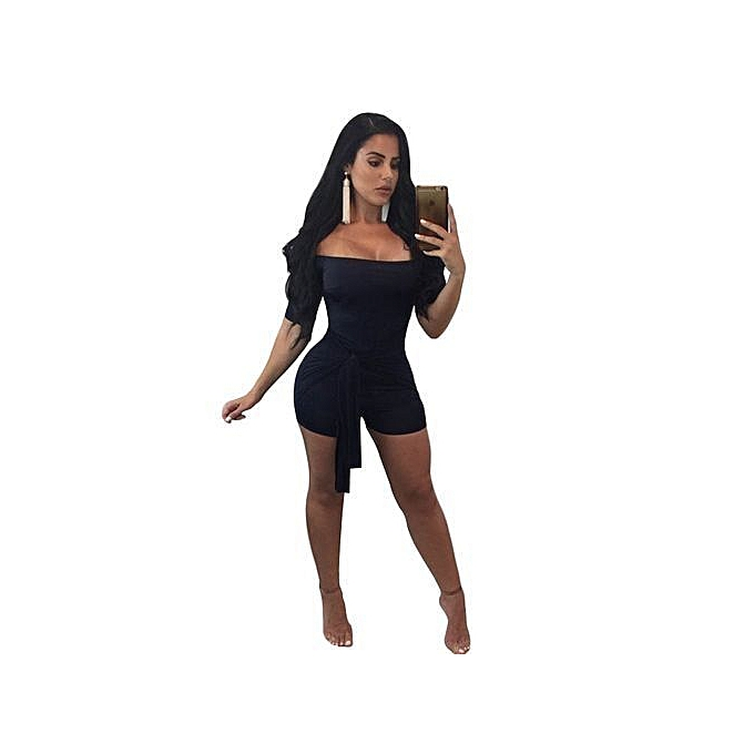 53fba8a51a72 Elegant Women's Jumpsuit Skin-tight Off Shoulder Sexy Jumpsuit-black