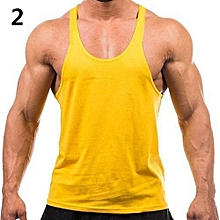 Men's Fashion Sports Vest Soft Cotton Gym Tank Tops Sexy Outdoor Exercise Shirt-Yellow