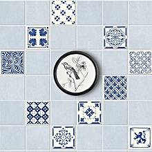 20 Pieces of New Style Retro Blue and White Ceramic Tiles with Diy Free Splicing Decorative Wall Paste