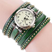 Olivaren CCQ Brand Vintage Leather Bracelet Watch Men Women Wristwatch Quartz Green