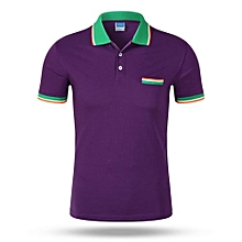 Best Sale Fashion Casual Men's Summer Breathable Short Sleeves Polo Shirts-Purple