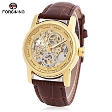 Forsining F042603 Men Auto Mechanical Watch Luminous Display Hollow-out Dial Wristwatch-BROWN AND GOLDEN