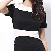 Round Neck Color Block Short Sleeve Women's Dress