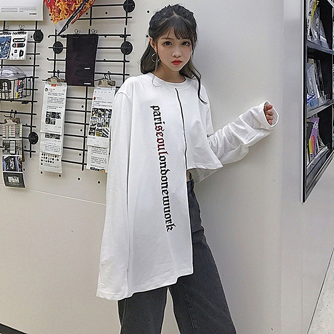 150e540334 TB Autumn Women Korean Tops Irregular Hem Loose T-shirt Clothes Base Shirt  White