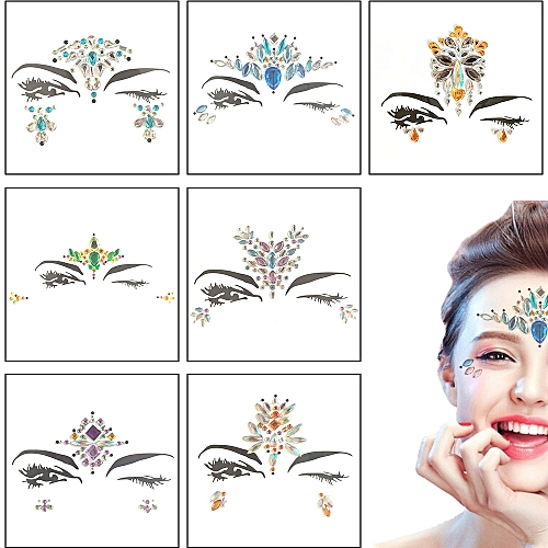 Temporary Tattoo Easy To Operate Face Gems Rhinestone 3D Face Stickers  Fashion DIY Tattoo Stickers Party Body Glitter Stick