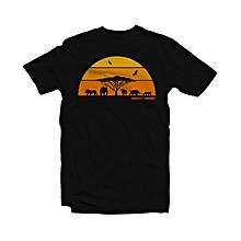 African Savanna Print - Black Cotton T-shirt