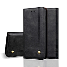 For IPhone XS Max Case,Premium Retro Leather Magnetic Card Holder Case Shockproof TPU Inner Flip Stand Cover For for iphone XS Max 6.5 Inch 555024 (Black)