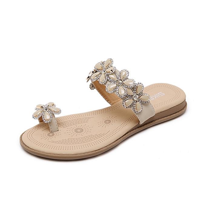 5905dd02c new Summer New Women Crystal Flower Sandals Fashion Beach Shoes Rhinestone  Party Ladies Sandals-apricot