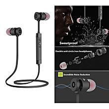 Bluetooth Headset, Noise Cancelling Metal Bluetooth Wireless Headset High-quality Sweatproof Earphone Sports Running Headphone (Black)