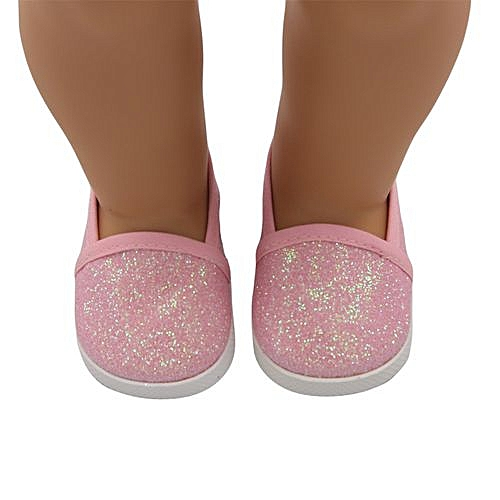0808429f5acaf Braveayong Glitter Doll Shoes Canvas Shoes For 18 Inch Our Generation  American Girl Doll -Pink