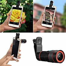 6pcs 12x Optical Zoom Lens Telescope Telephoto Clip on For Mobile Cell Phone Camera