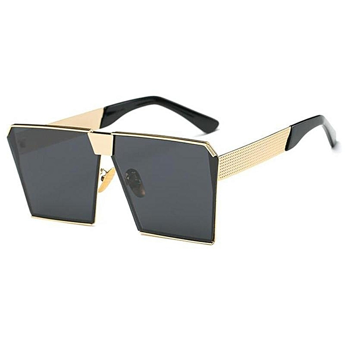 60d5eba4a7d3f Woman Oversized Square Sunglasses Metal Frame Flat Top Street Fashion  Sunglasses Lenses Color Gold frame